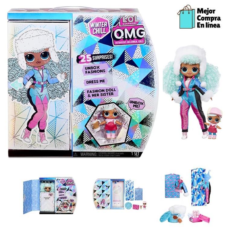 L.O.L. Surprise! O.M.G. Invierno Chill ICY Gurl Fashion Doll & Brrr B.B. Muñeca con 25 sorpresas